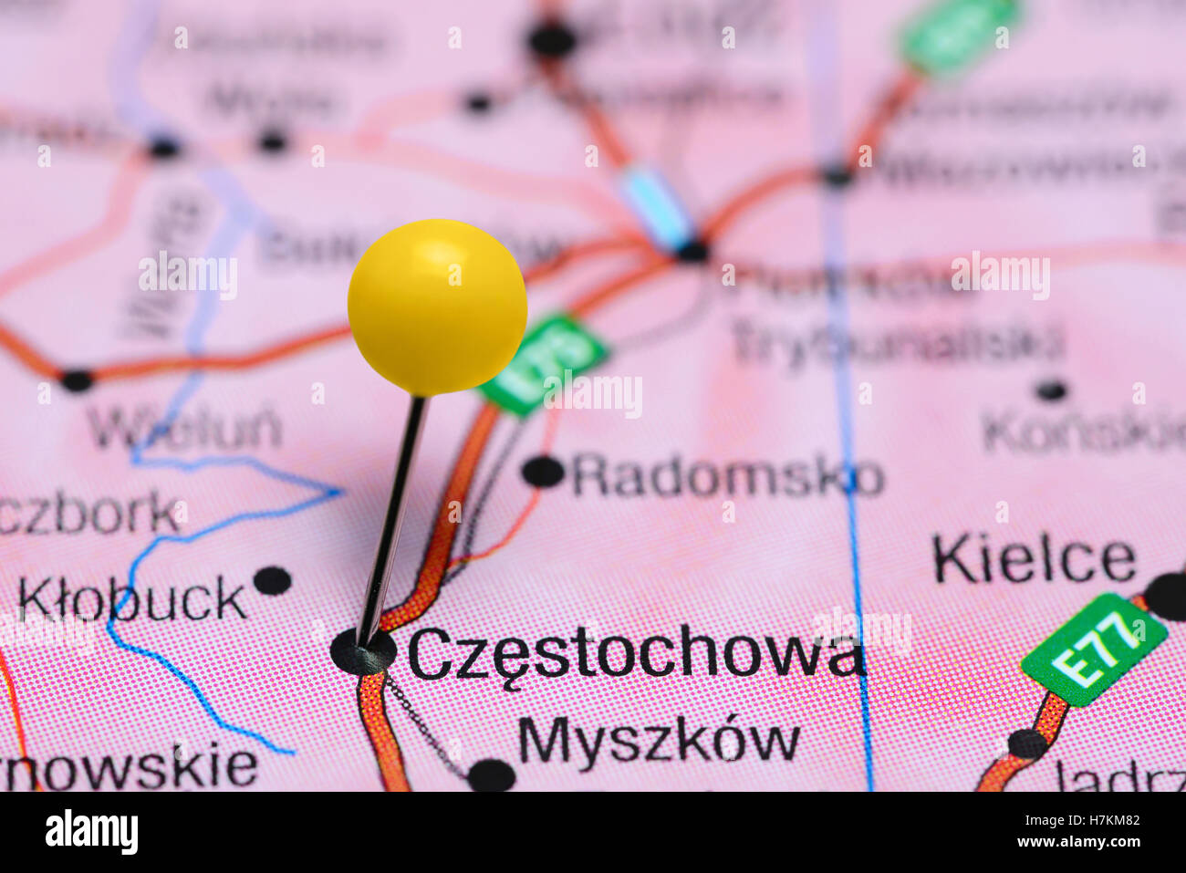 Czestochowa Poland Map.Czestochowa Pinned On A Map Of Poland Stock Photo 125208162 Alamy
