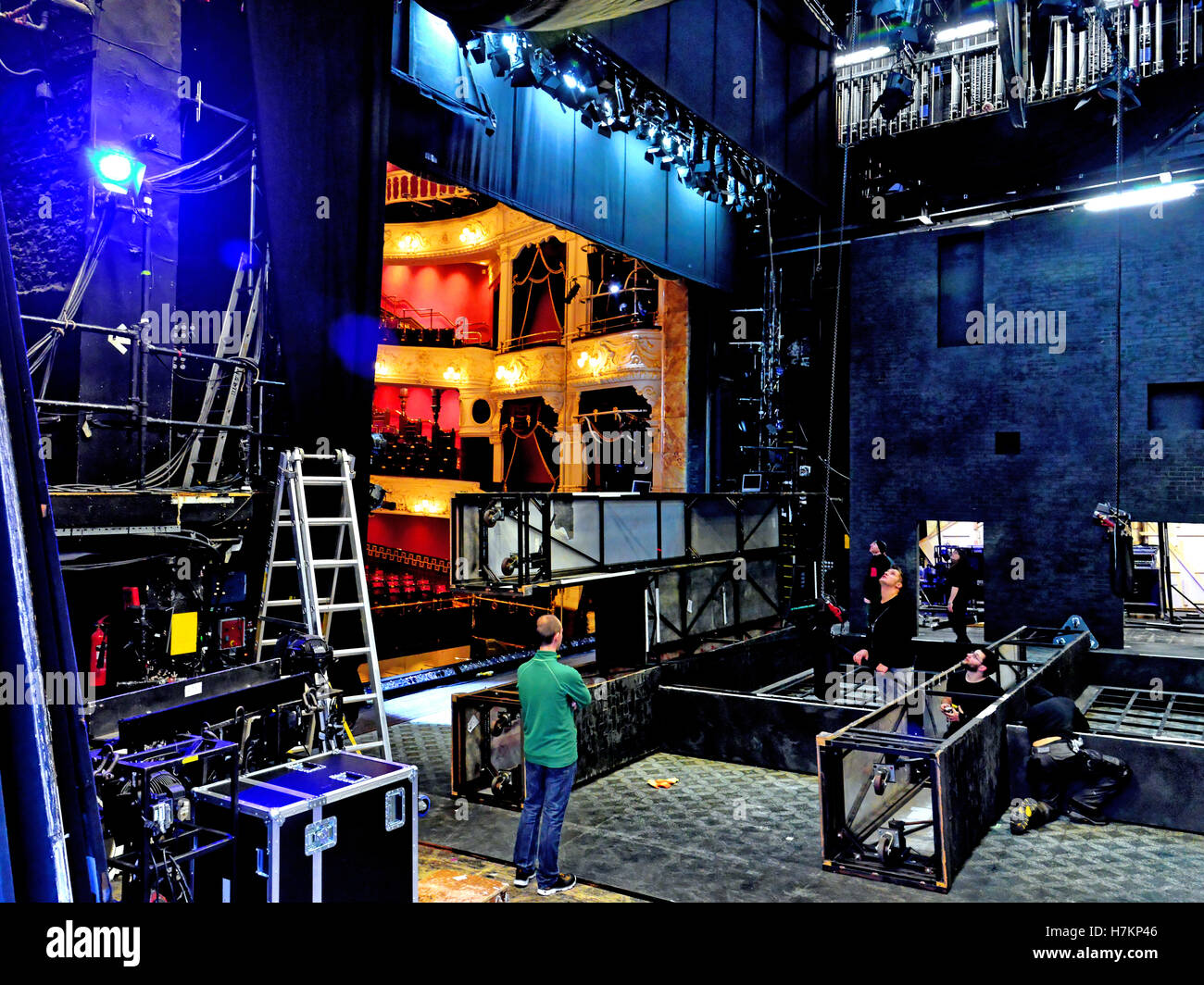 Newcastle Theatre Royal backstage setting up the scenery - Stock Image