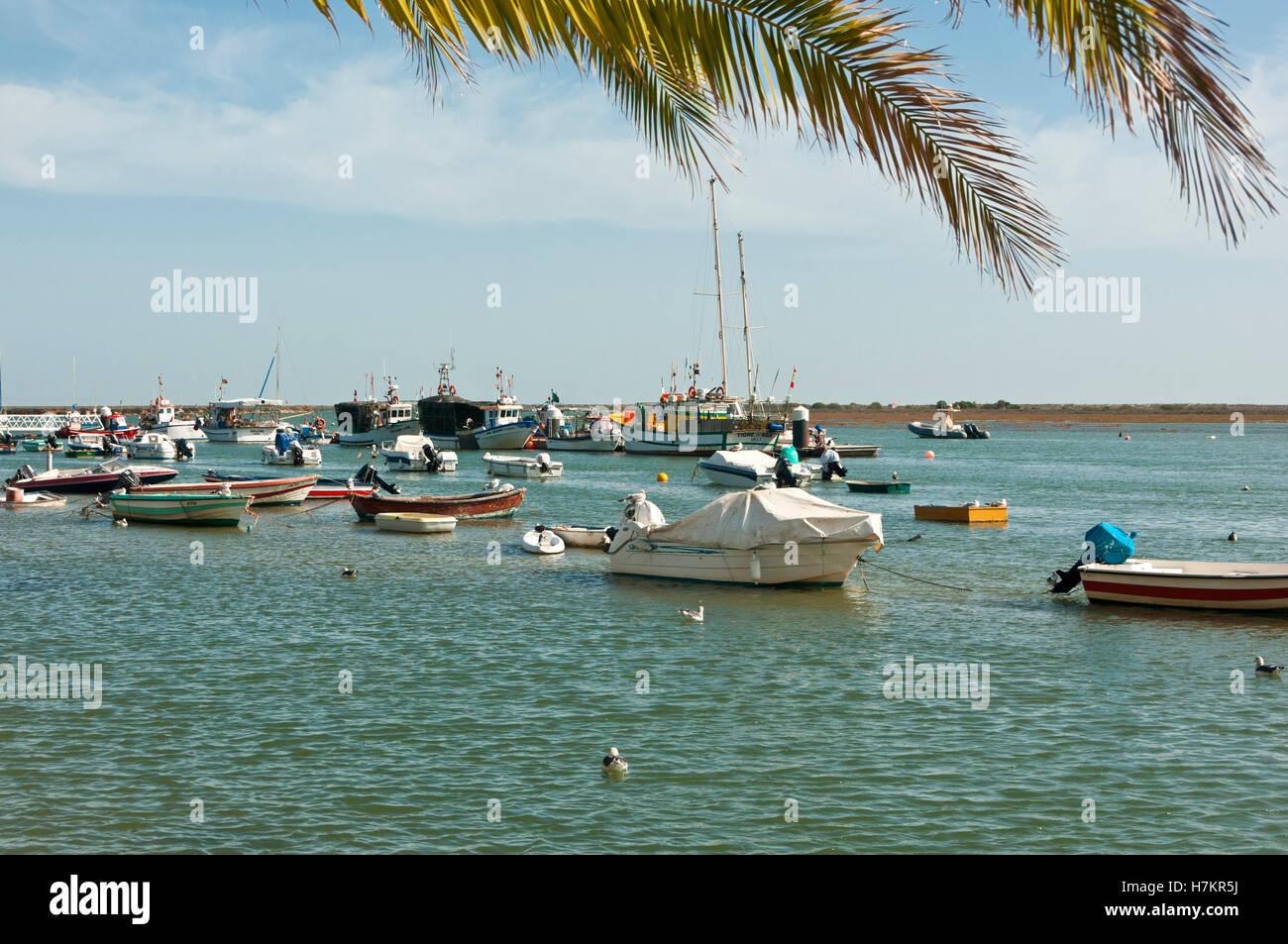 Seafront and boats, Santa Luzia, Algarve, Portugal Stock Photo