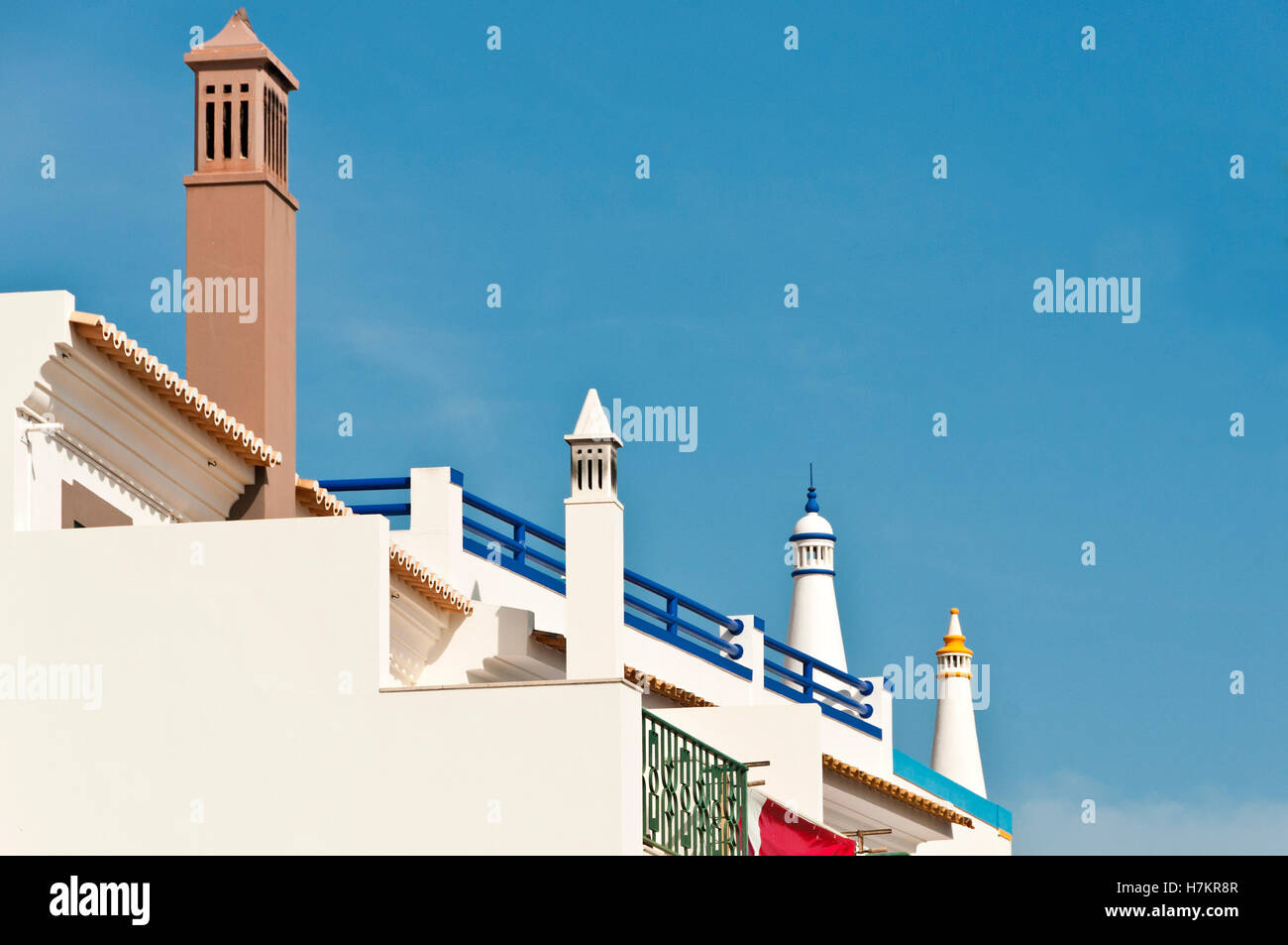 Colourful houses, Santa Luzia, Algarve, Portugal Stock Photo