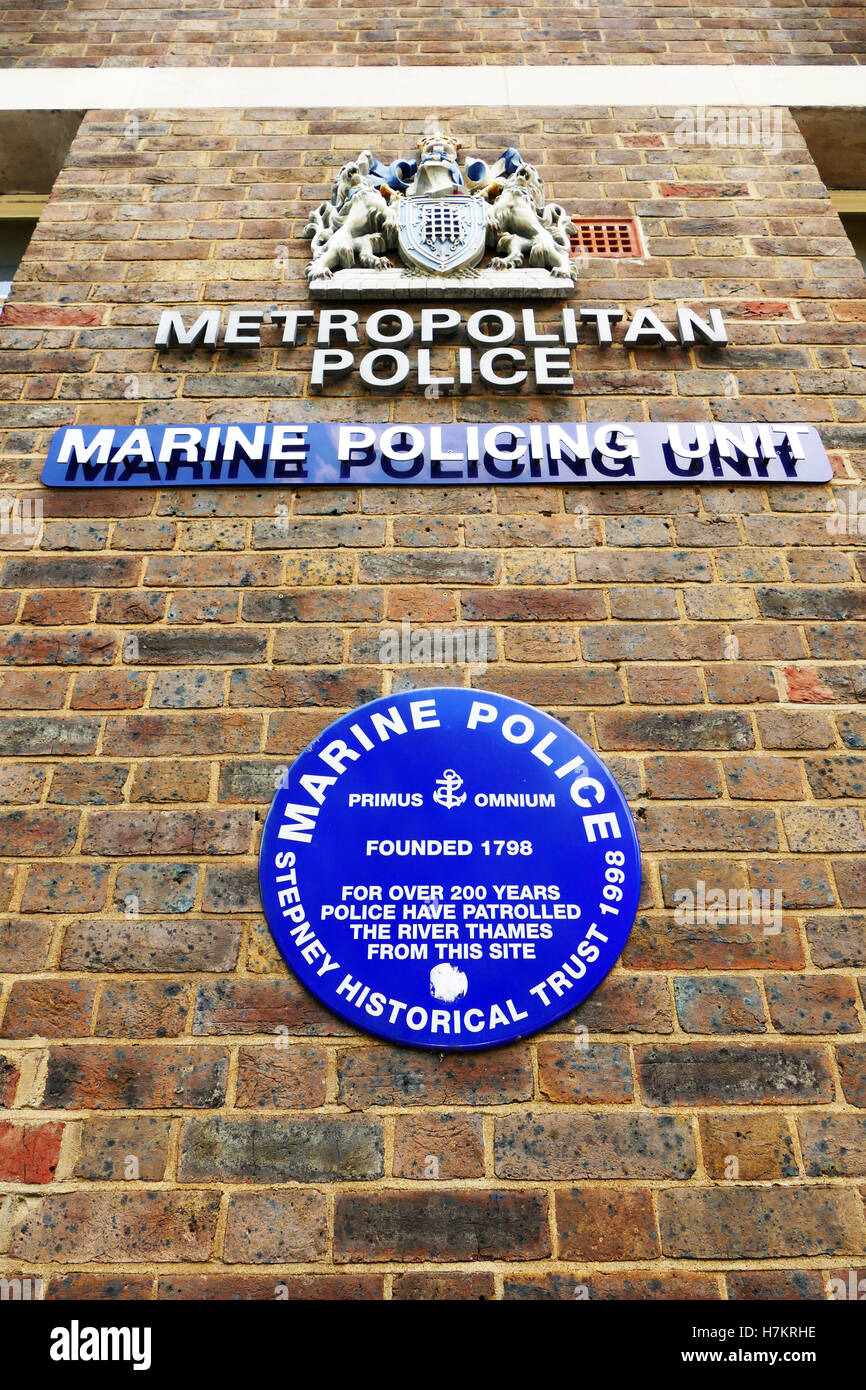 Signs outside the headquarters of the Metropolitan police Marine Policing Unit, Wapping High Street , London E1 Stock Photo