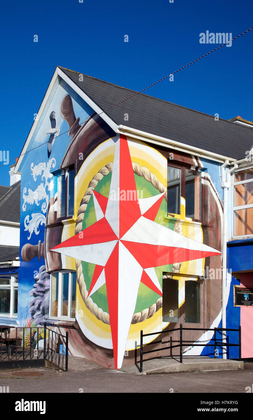 Kitsch facade of the Bayview Hotel, Waterville, Co. Kerry - Stock Image