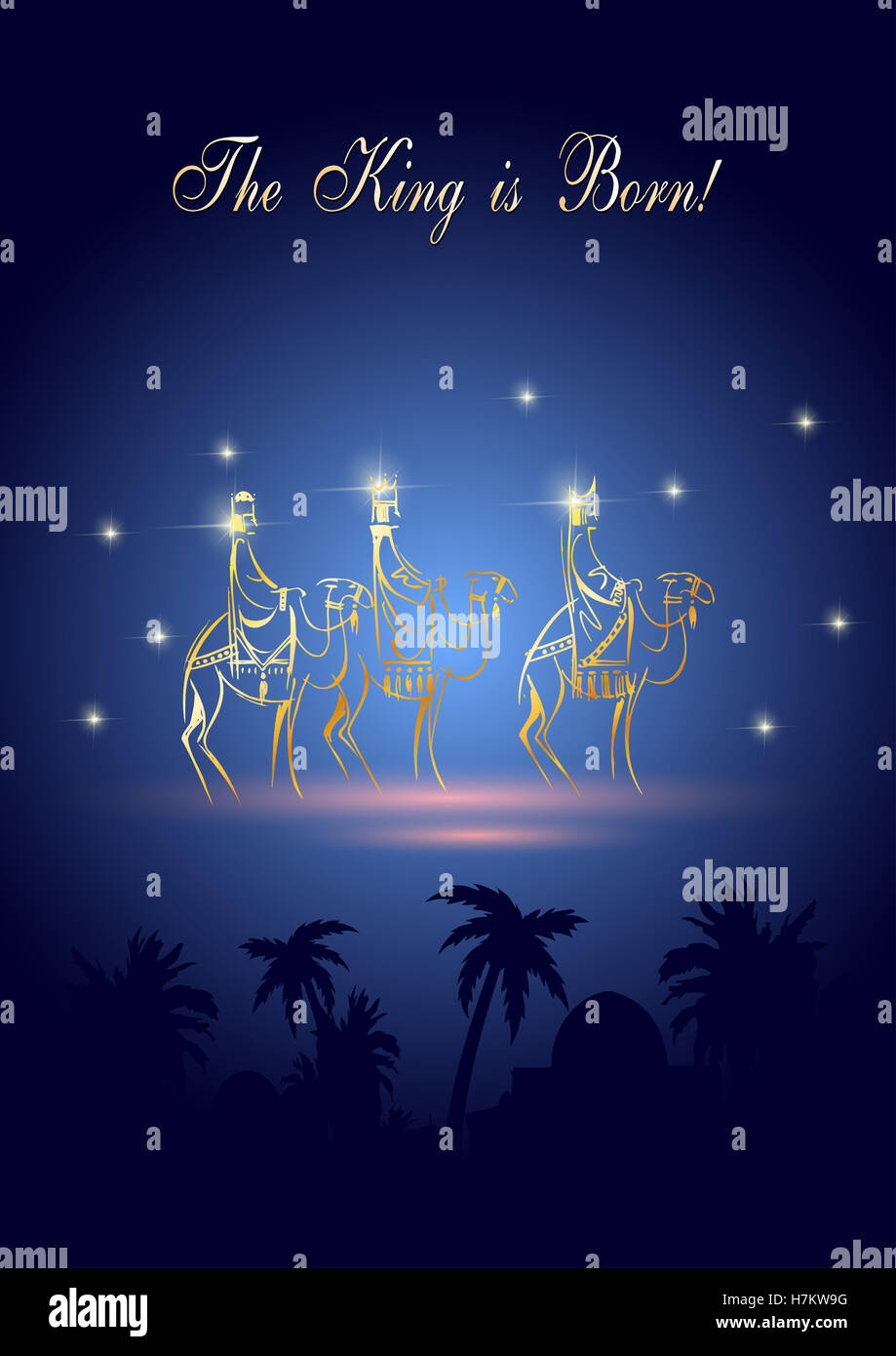 Stylized Biblical Christmas illustration: three Wise Men are ...