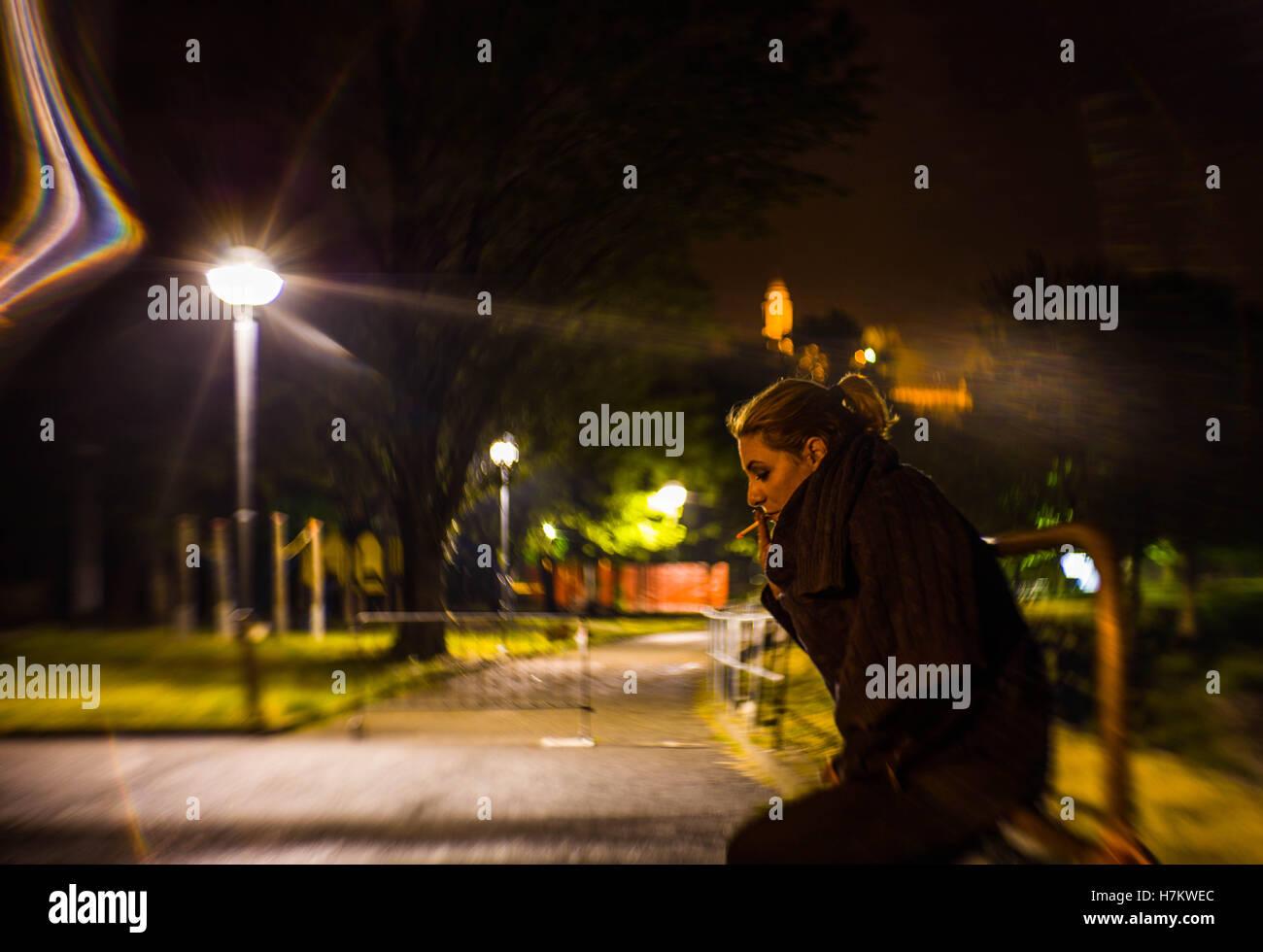 Smokin' in the night - Stock Image