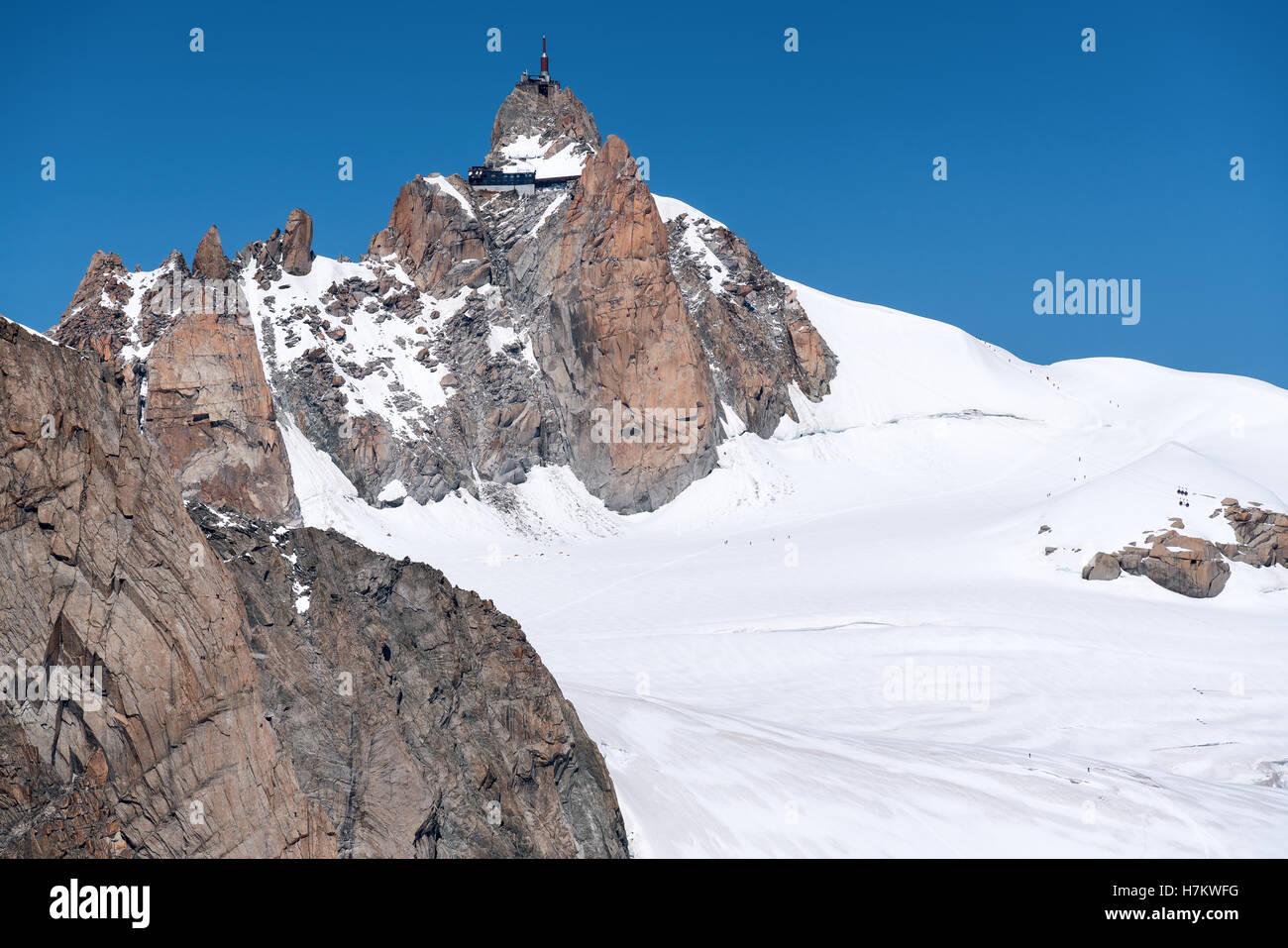 Aiguille du Midi seen from Italian side of the Alps, Courmayeur, Italy, Alps, Europe, EU - Stock Image