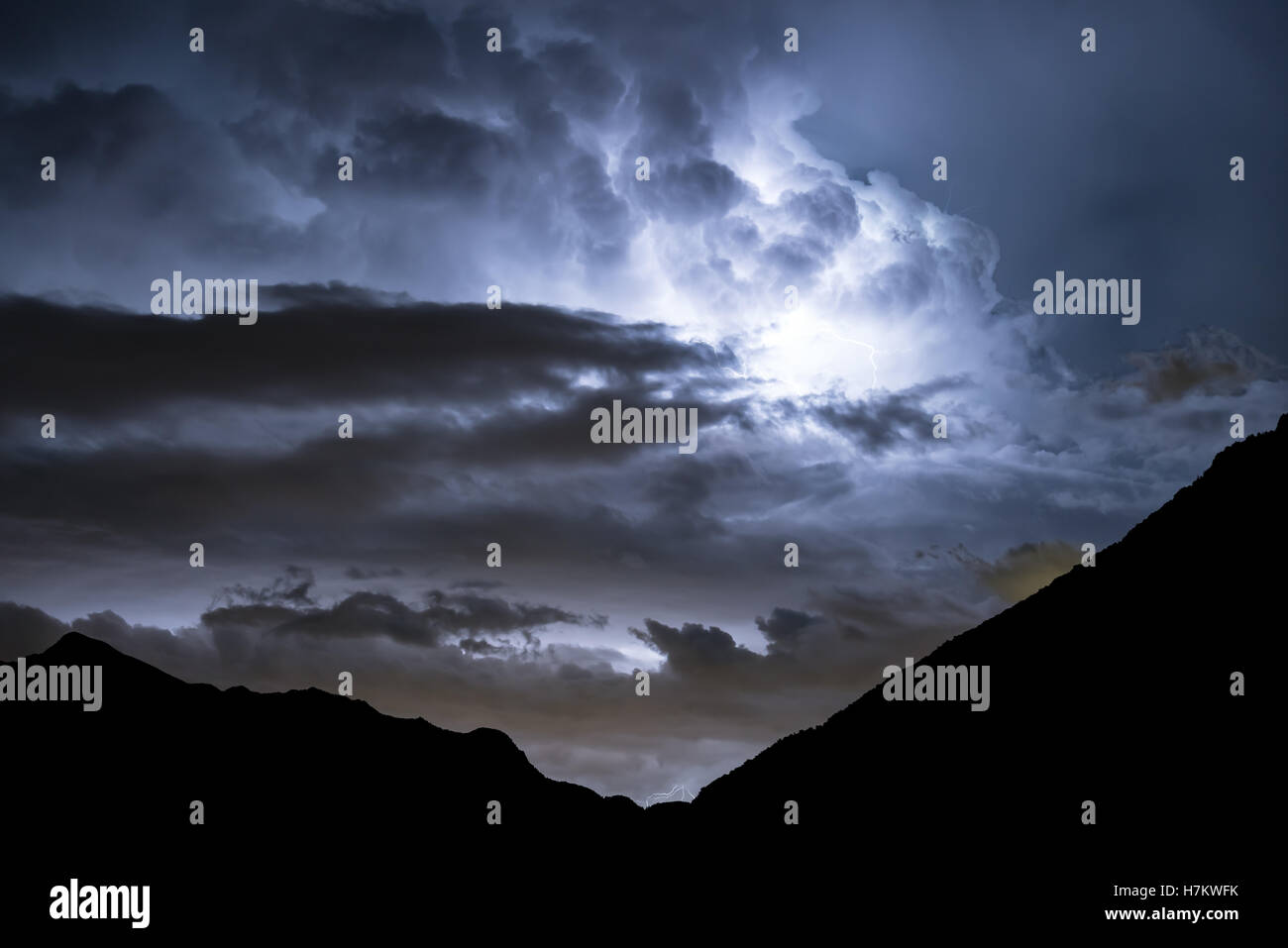 Lightning storm, St Vincent, Aosta valley, Italy, Alps, Europe, EU Stock Photo