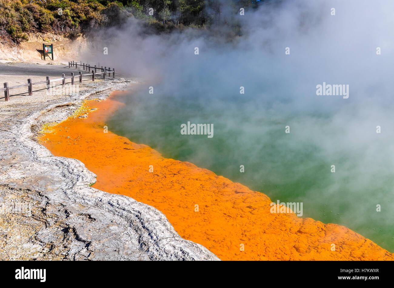 Champagne Pool in the wonderland of the Wai-o-tapu geothermal area, near Rotorua, New Zealand - Stock Image