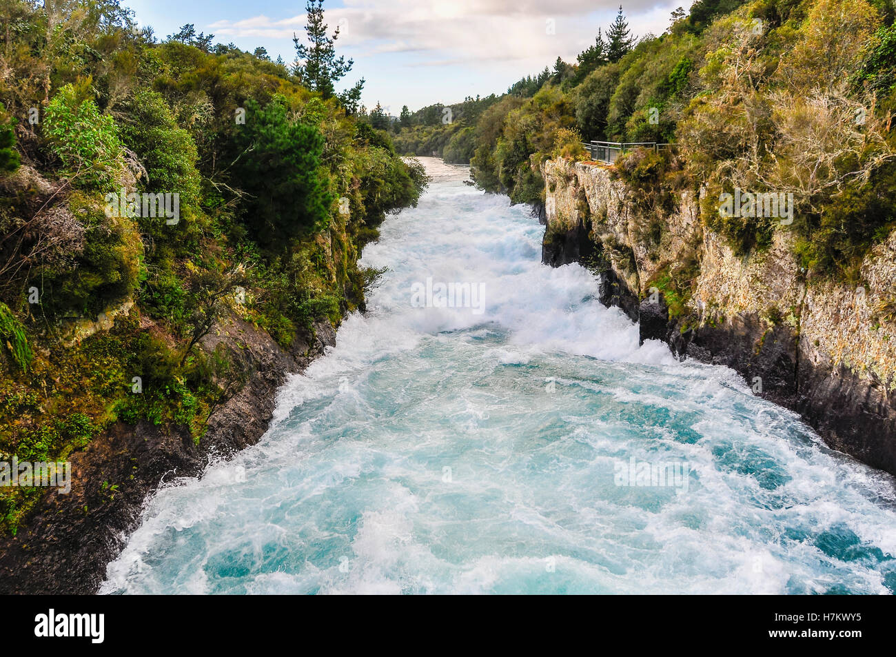 The rushing wild stream of Huka Falls near Lake Taupo, New Zealand - Stock Image