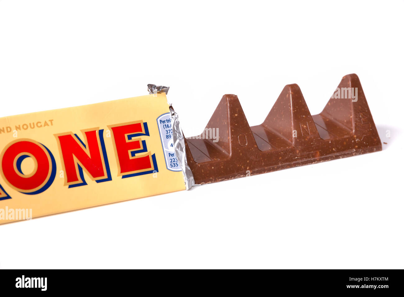 A close up of the wider gaps between pieces of a 150g Toblerone. - Stock Image