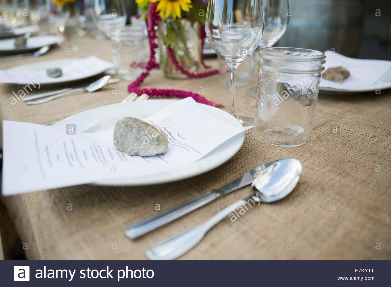 Restaurant Table Setting Menu Stock Photos Restaurant Table