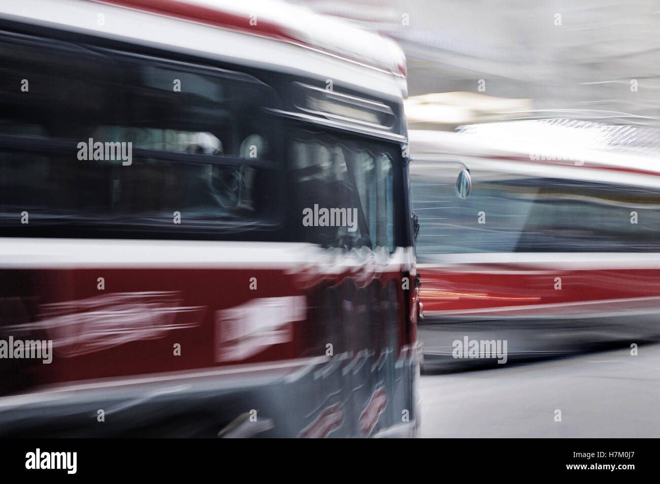 Streetcars on Queen Street, Financial District, Toronto, Canada - Stock Image
