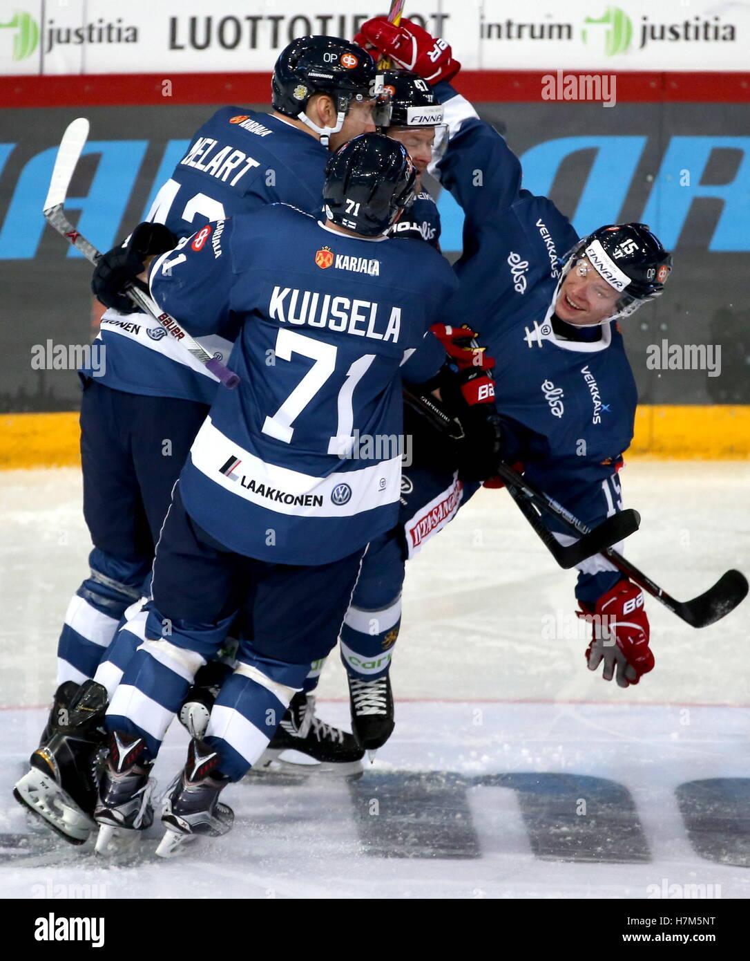 Helsinki Finland 6th Nov 2016 Finland S Players Celebrate