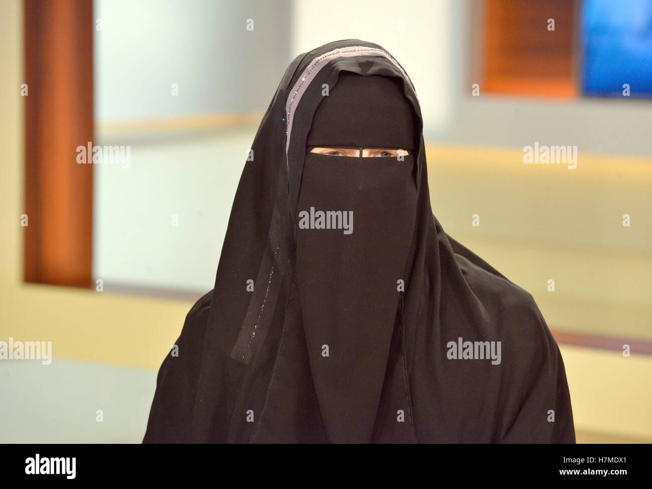 Berlin-Adlershof, Germany. 06th Nov, 2016. Nora Illi, women's representative of the Islamic Central Council - Stock Image