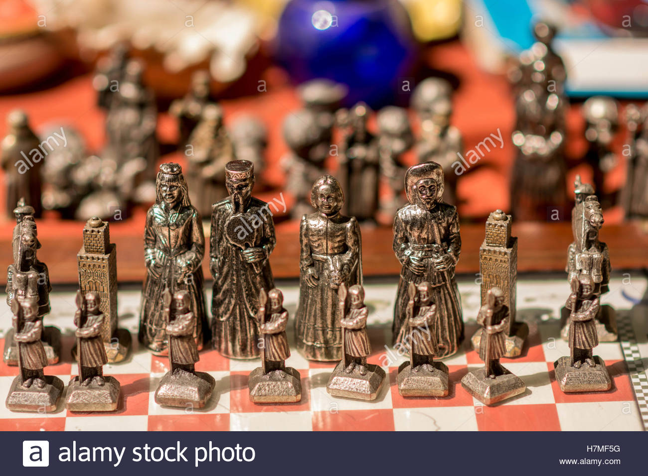 Old metal chess board on a flee market place outdoor - Stock Image