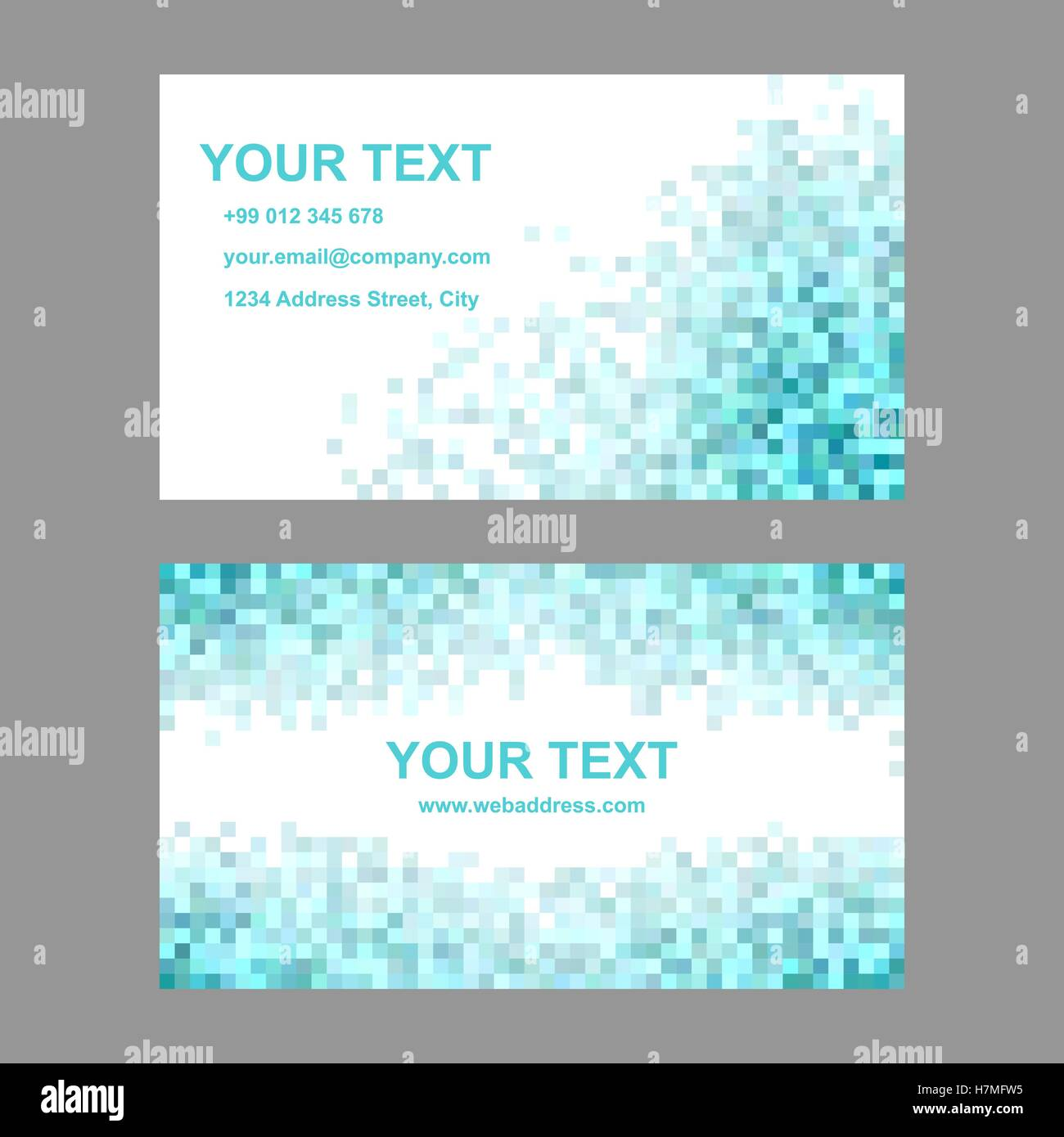 cyan square mosaic business card template set stock vector art