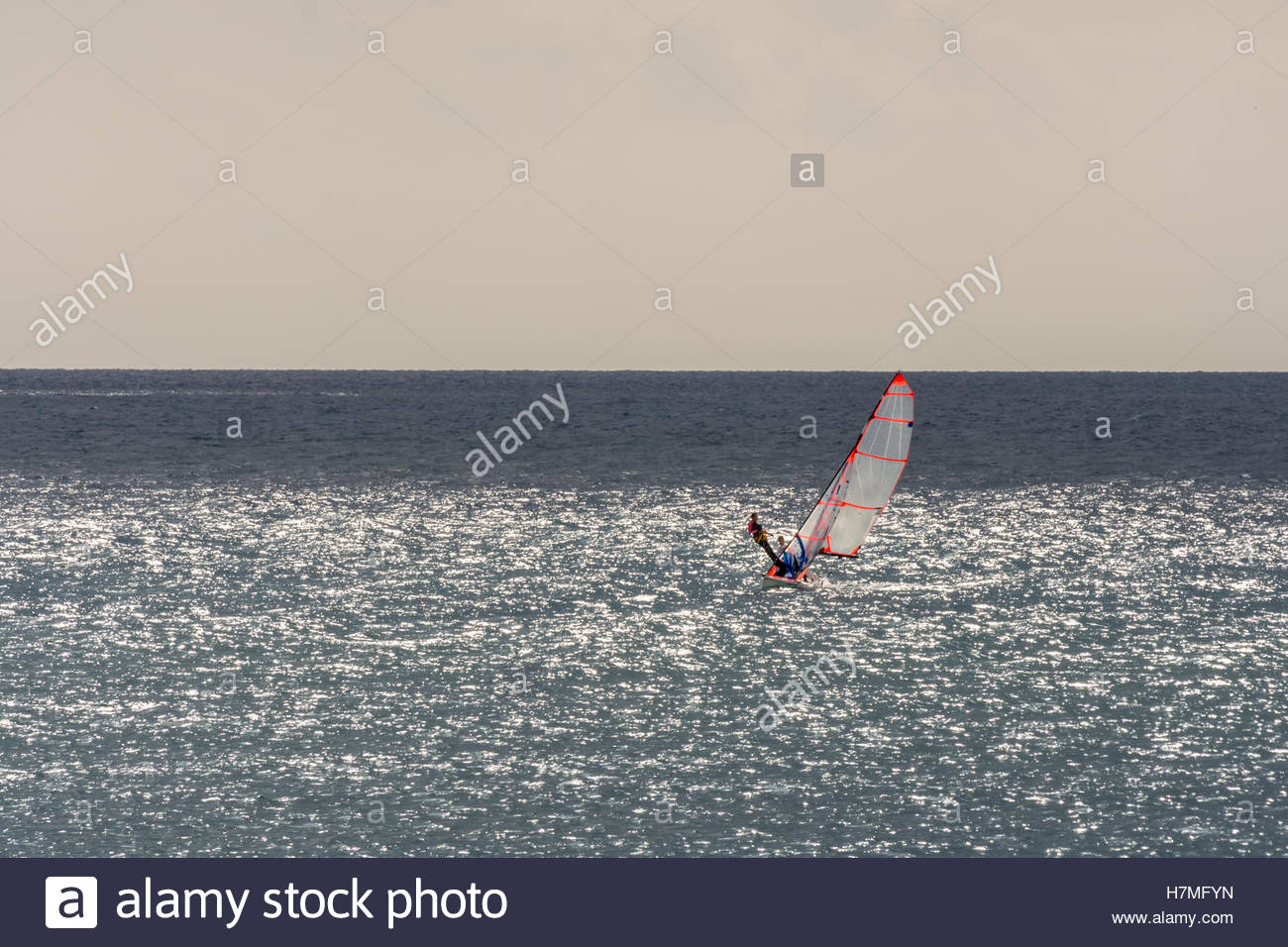 Cloudy and gray sky Mediterranean sea day for sailing. - Stock Image