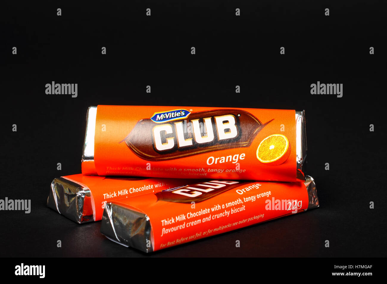 Mcvities Club Orange Flavour Chocolate Biscuit Bar Isolated