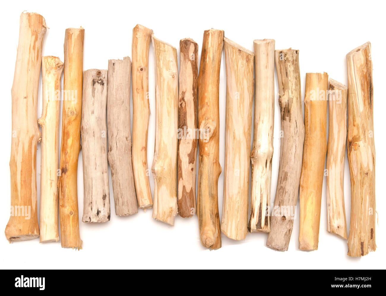 wooden sticks isolated on white background Stock Photo