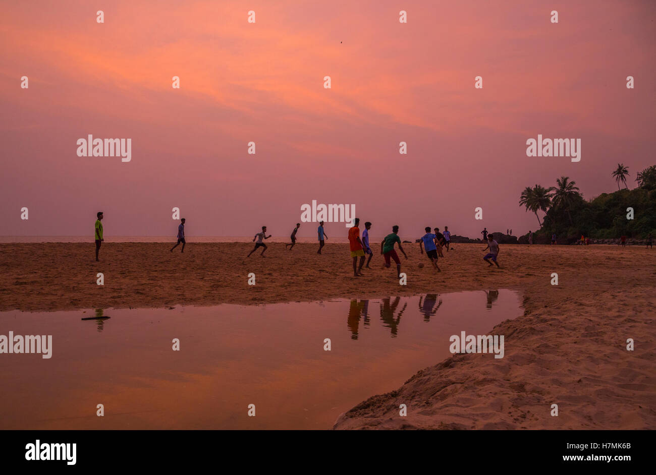 Beach Football at Thottada Beach near Kannur (Kerala) - Stock Image