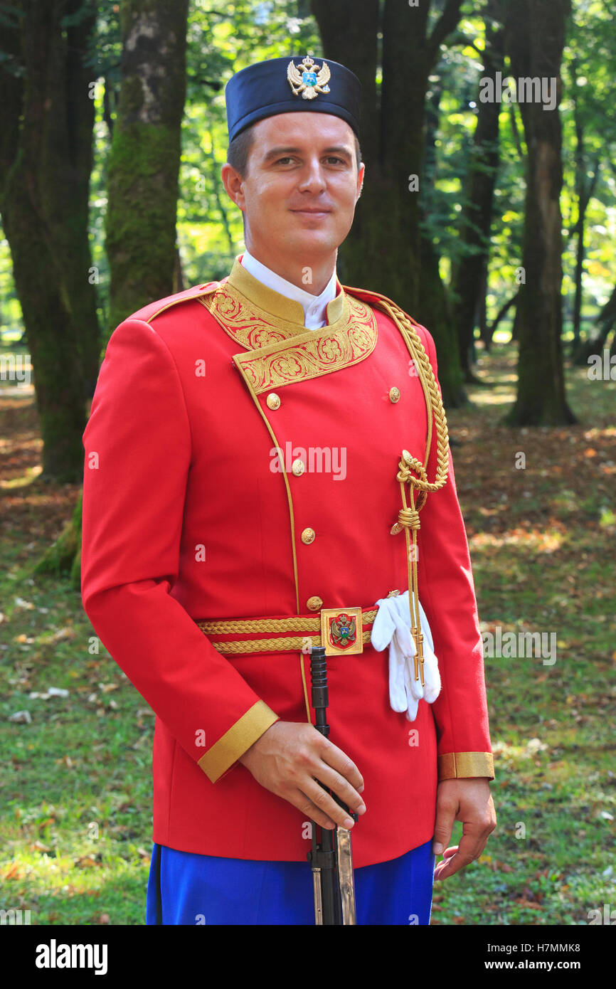 A soldier of the presidential guard at the entrance of the residence of the President of Montenegro in Cetinje Stock Photo