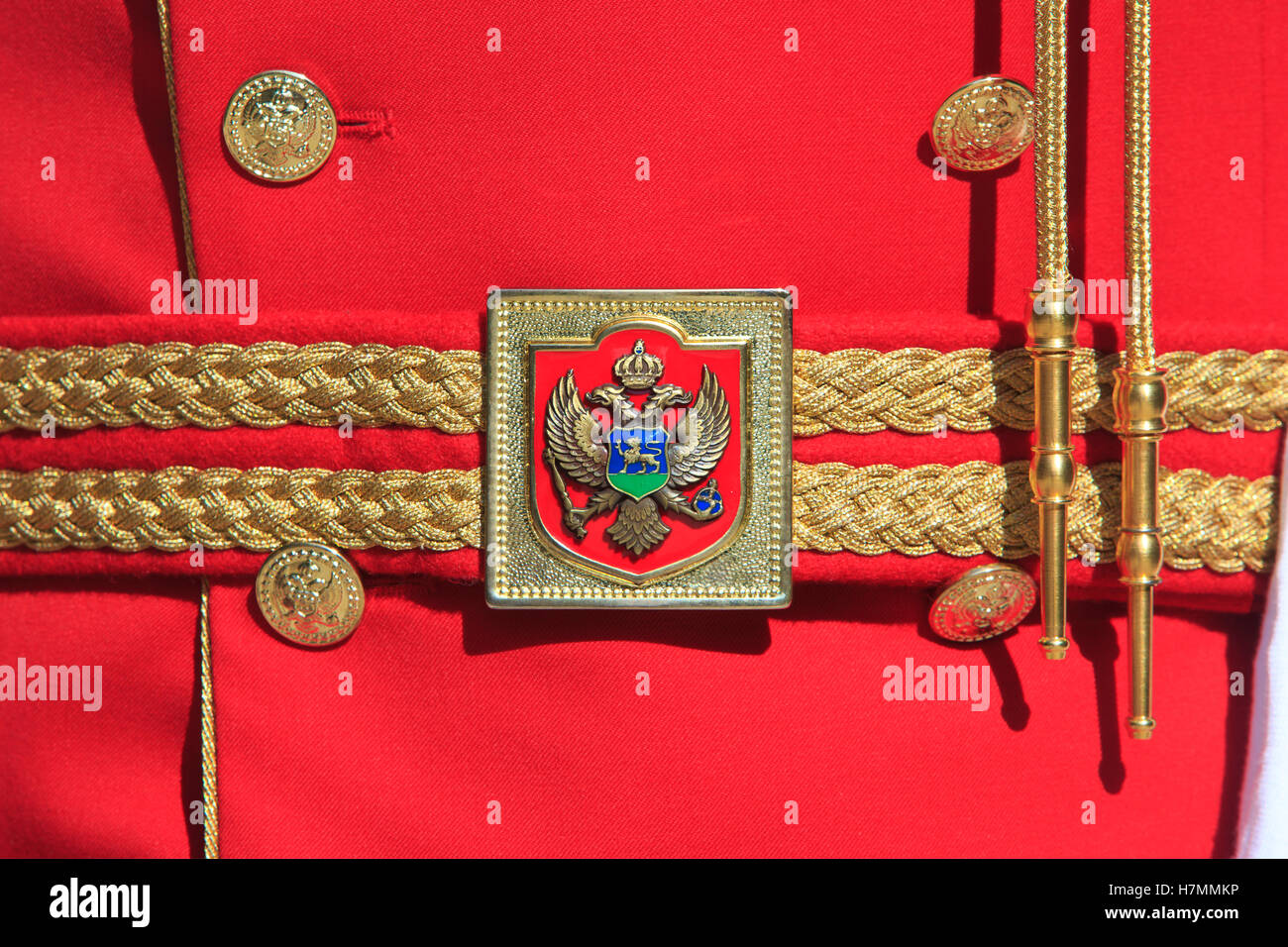 Detail of an officer's belt buckle of the Montenegrin presidential guard in Cetinje, Montenegro Stock Photo