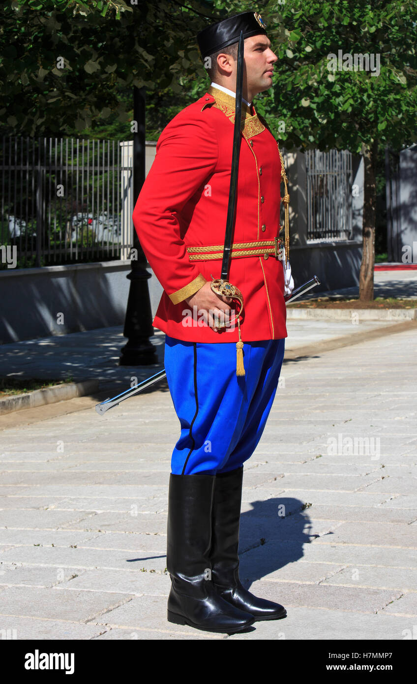 An officer of the presidential guard at the entrance of the residence of the President of Montenegro in Cetinje Stock Photo