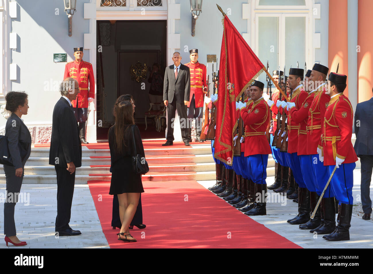 The presidential guard at the entrance of the residence of the President of Montenegro in Cetinje Stock Photo