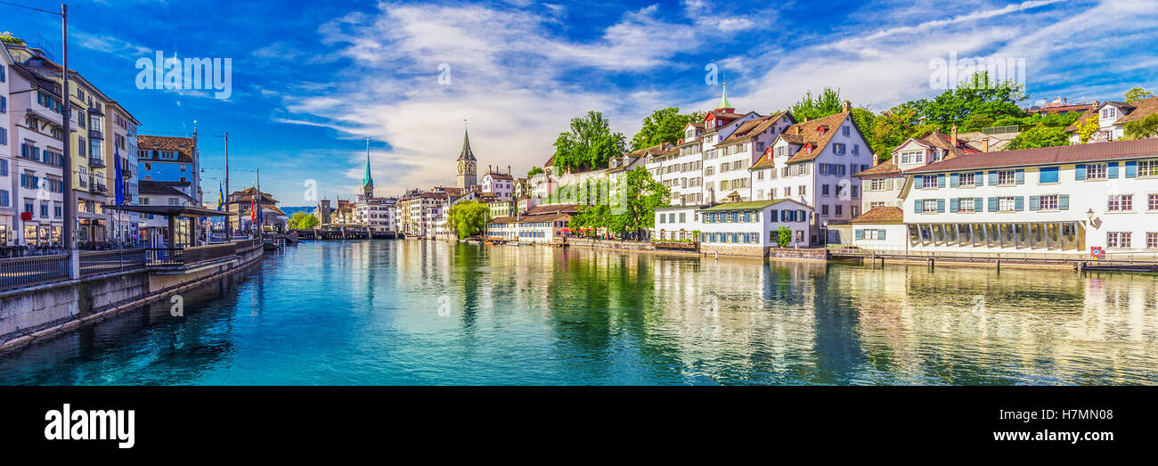 View of historic Zurich city center with famous Fraumunster Church, Limmat river and Zurich lake, Zurich, Switzerland - Stock Image