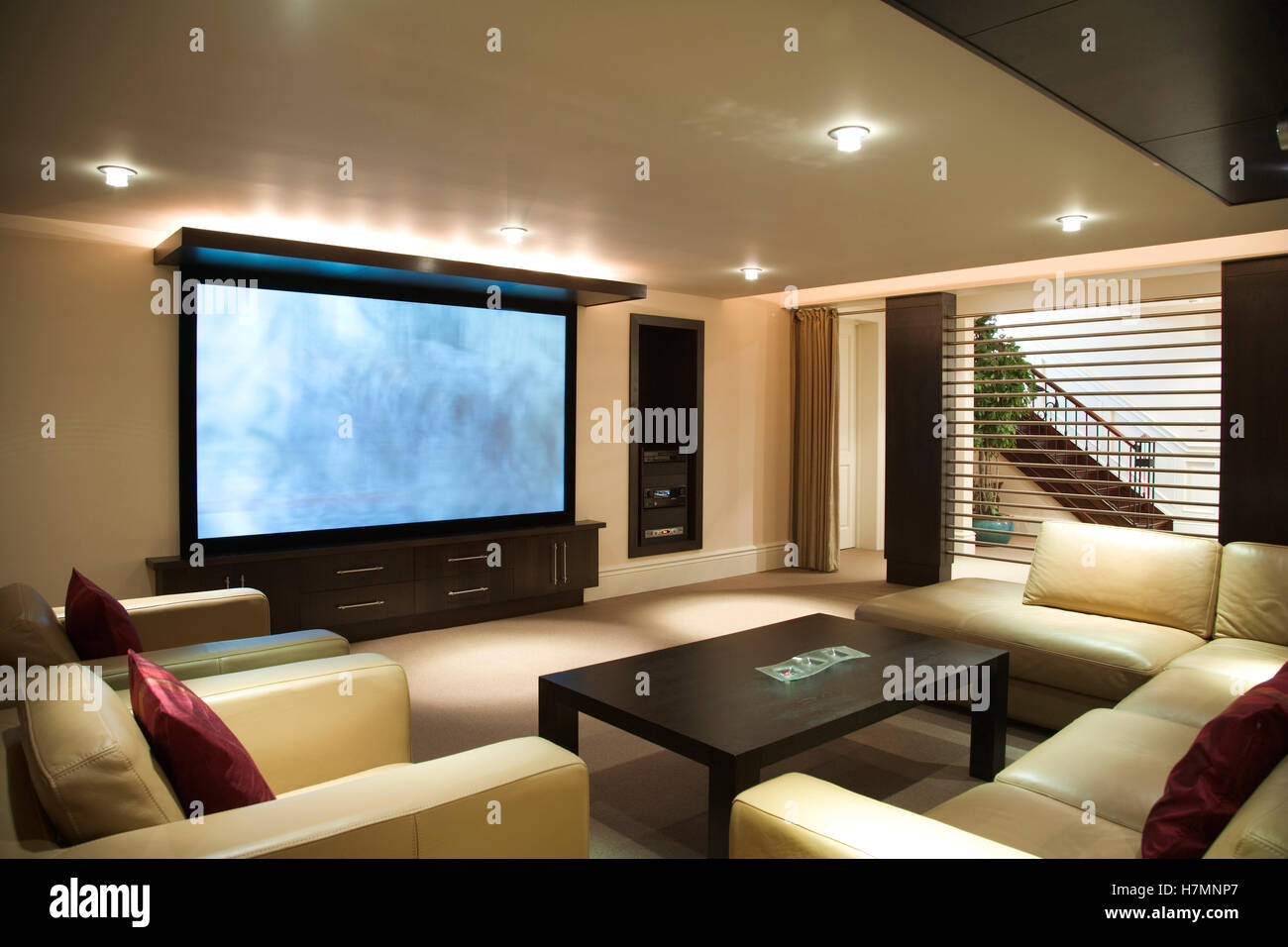 Entertainment Room With Big Screen Tv Stock Photo Alamy