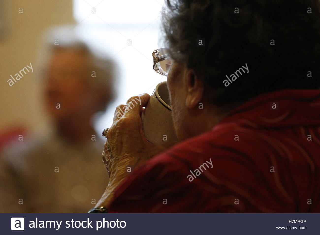 File photo dated 23/02/14 of an elderly woman at a charity tea party in London, as the over-65s and those with long - Stock Image