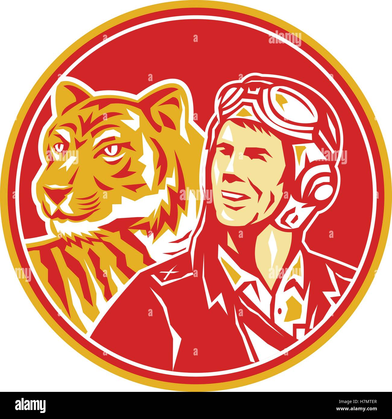 Illustration of a world war two pilot airman aviator and tiger looking to the side set inside circle done in retro - Stock Vector