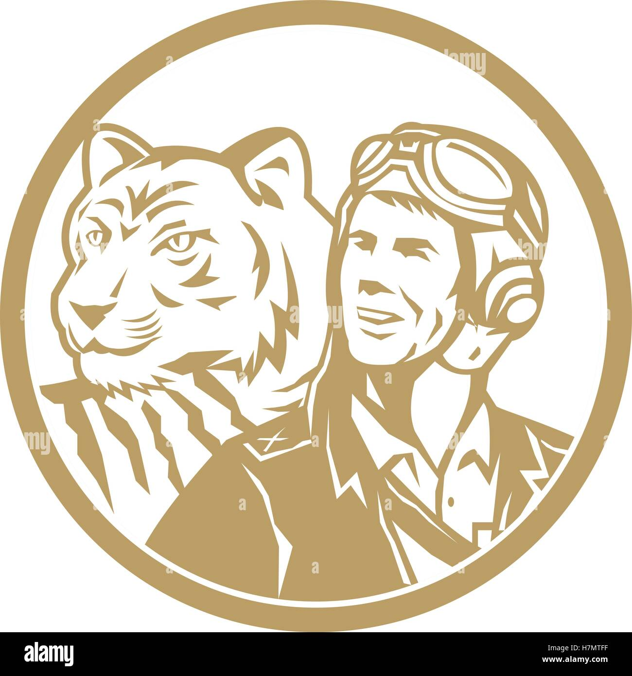 Illustration of a world war two pilot airman aviator and tiger looking to the side set inside circle done in gold - Stock Vector