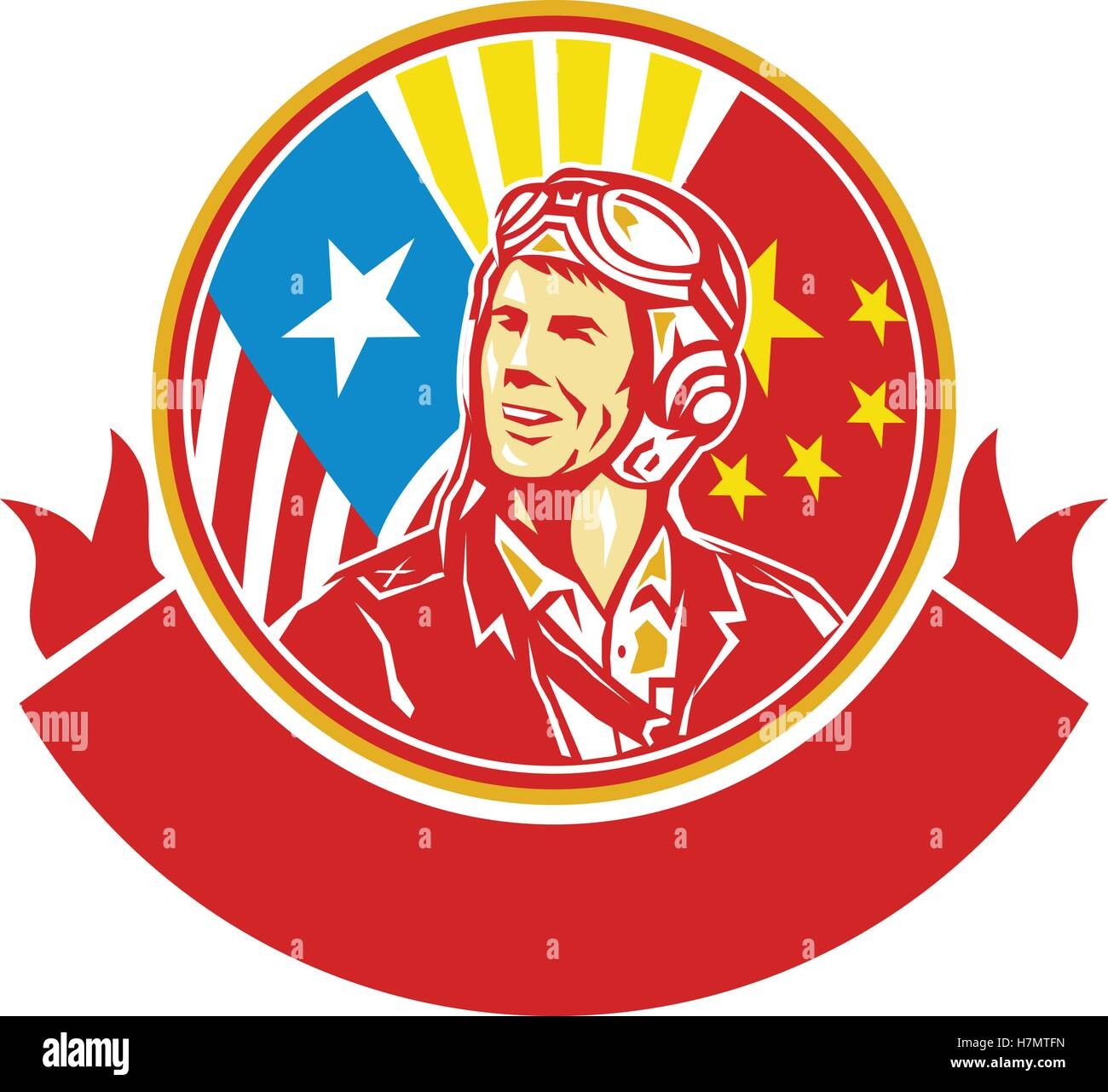 Illustration of a world war two pilot airman aviator smiling looking to the side with USA and China flags in the - Stock Vector