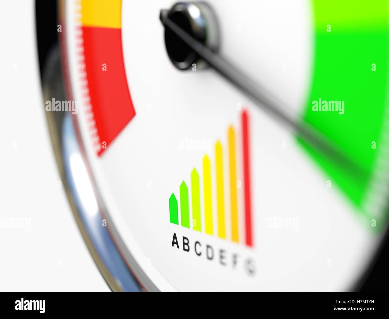 speedometer energy efficiency 3d rendering image - Stock Image