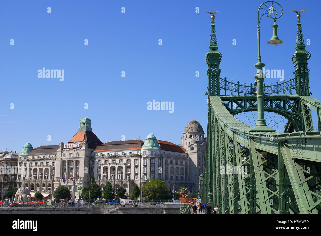 Liberty Bridge (Szabadsag hid), crossing the River Danube, with the Hotel Gellert in the background, Budapest, Hungary Stock Photo