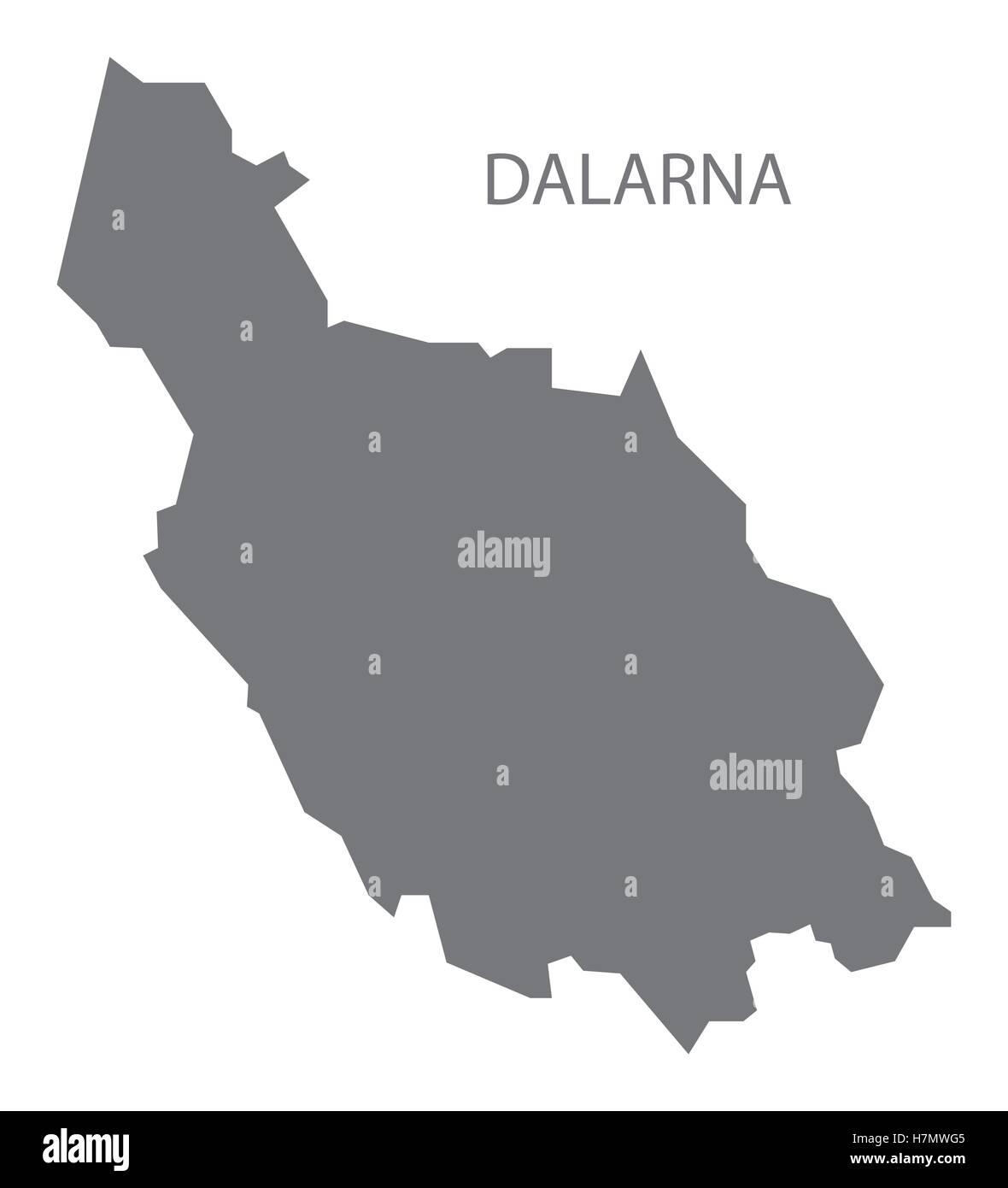 Dalarna Sweden Map grey - Stock Image