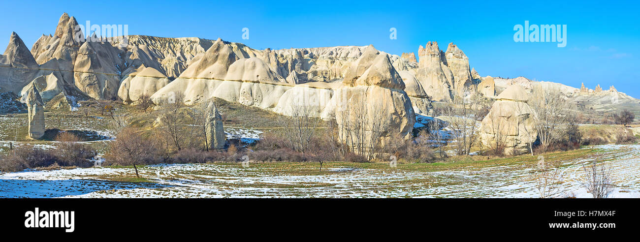 Panorama of the Love Valley, one of the most popular sites in Cappadocia, Turkey. - Stock Image
