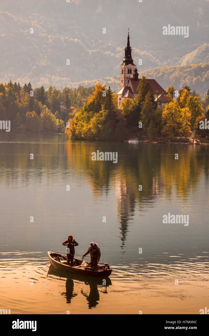 Church Of Saint Mary Lake Bled Slovenia - Stock Image