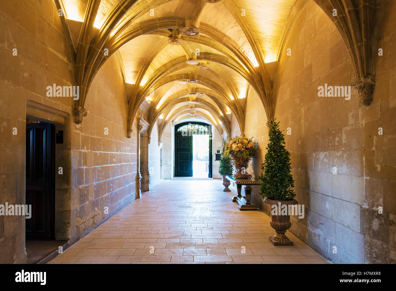 The main entrance hall to Chateau de Chenonceau in the Loire Valley in France - Stock Image