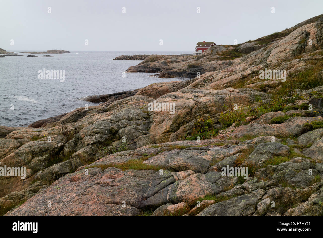 Deserted place near the sea in Lindesnes, Norway - Stock Image