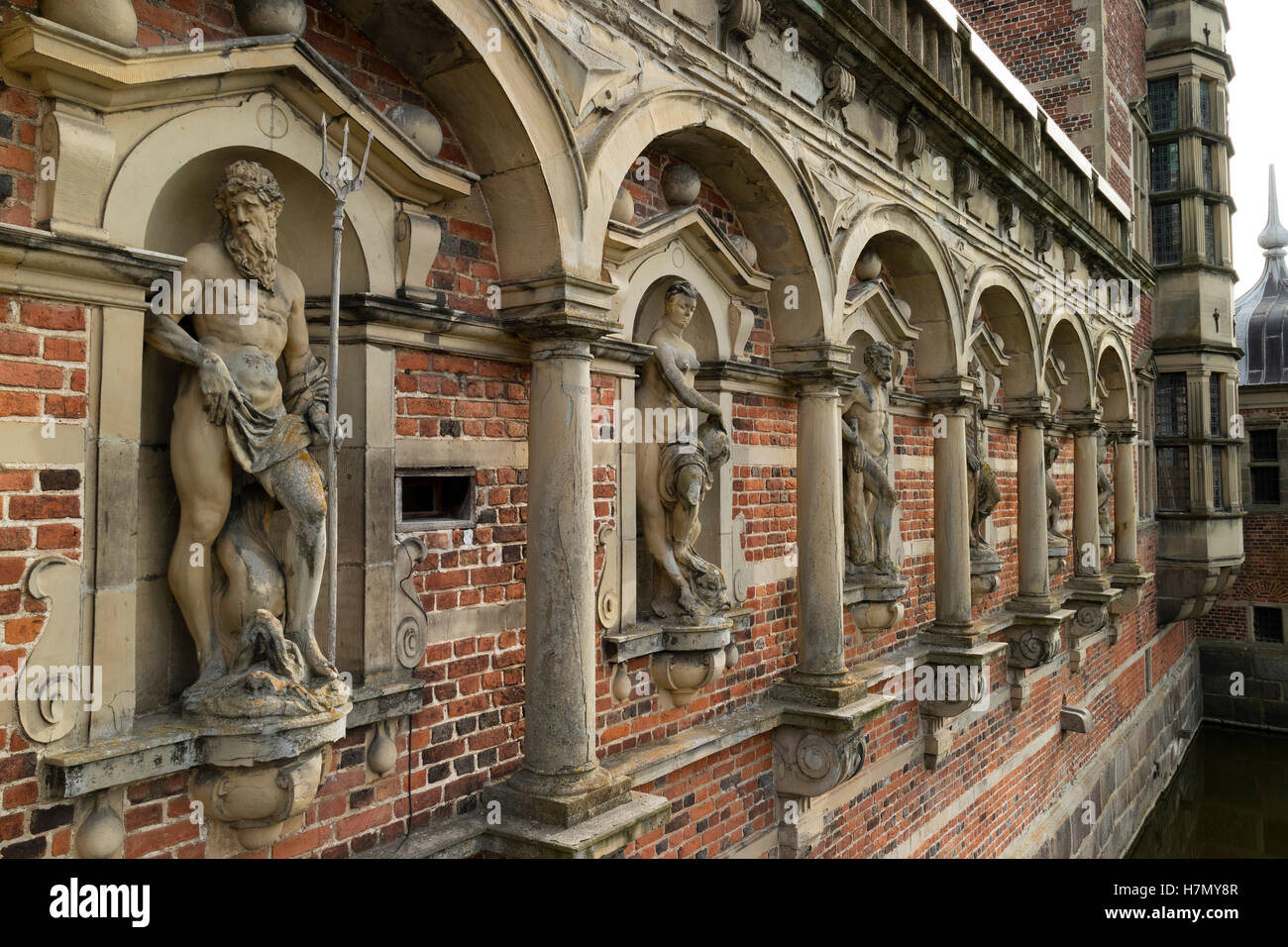 Sculptures at the Frederiksborg Castle in Hillerod, Denmark - Stock Image
