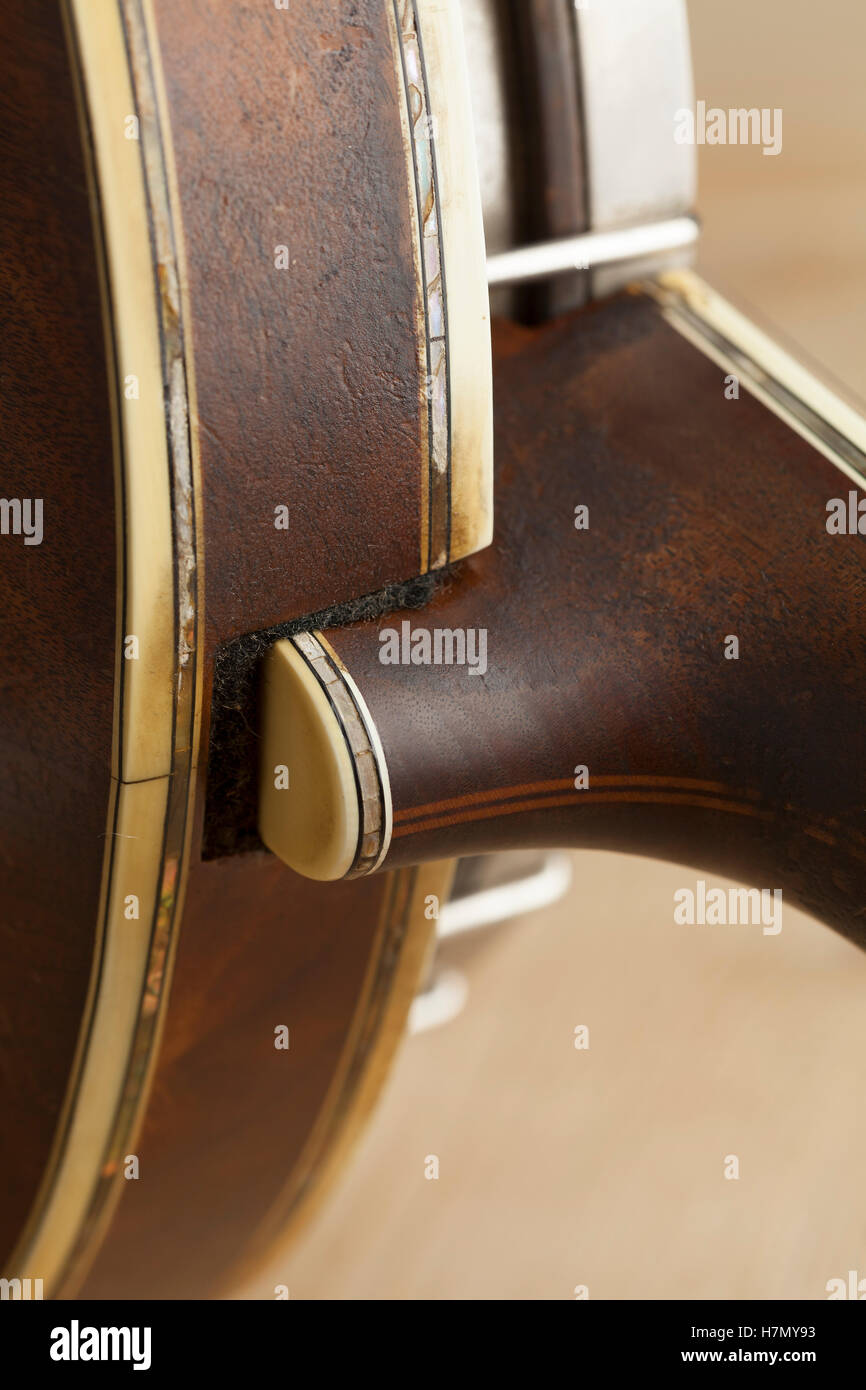 Banjo heel close up - Stock Image