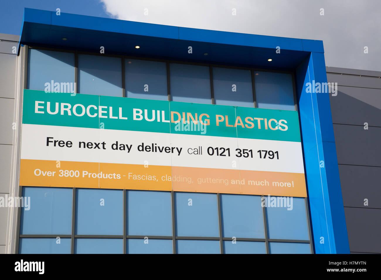 Eurocell Building Plastics trade centre signage - Stock Image