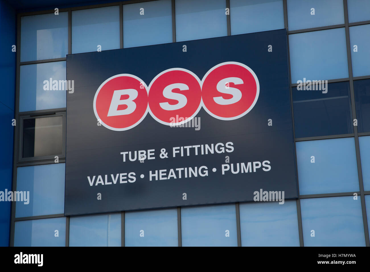 BSS trade centre signage - Stock Image