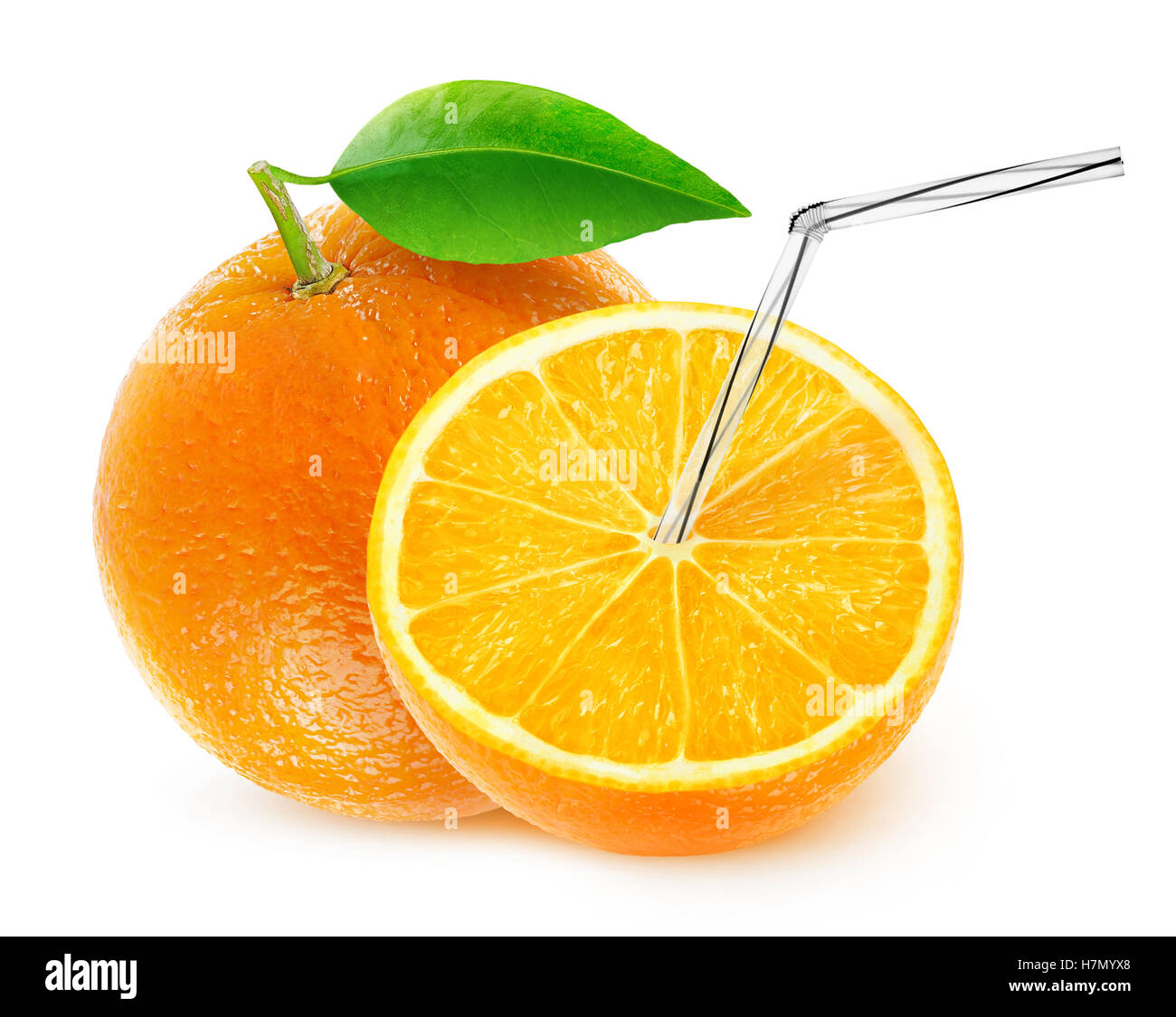 Isolated orange juice. One and a half fruit with straw in it, natural fresh juice concept isolated on white background - Stock Image