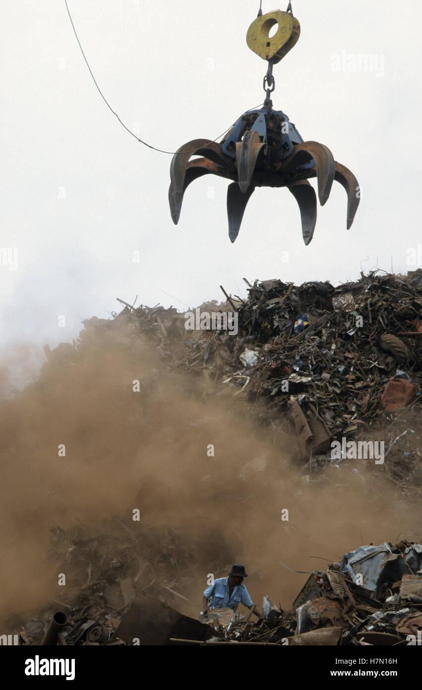 IndonesiaJava Jakarta, unloading of steel scrap in harbour - Stock Image