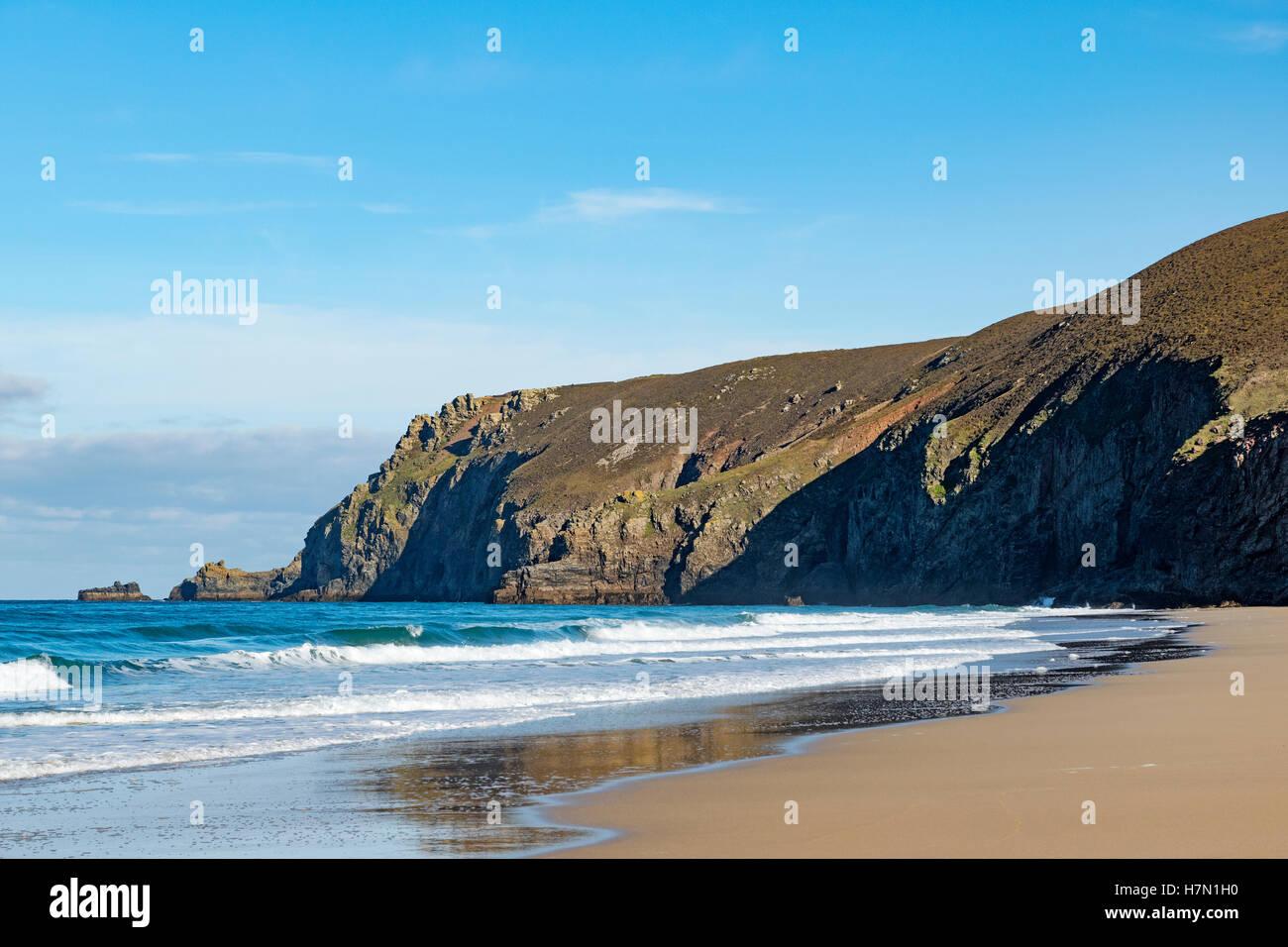 Chapel porth beach and St.Agnes head, Cornwall, England, UK - Stock Image