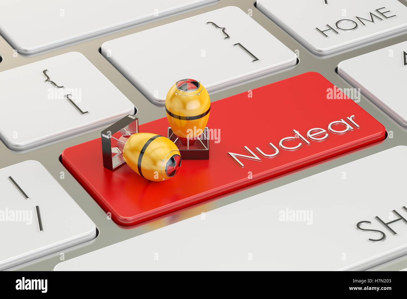 Nuclear bomb button, on the computer keyboard. 3D rendering - Stock Image