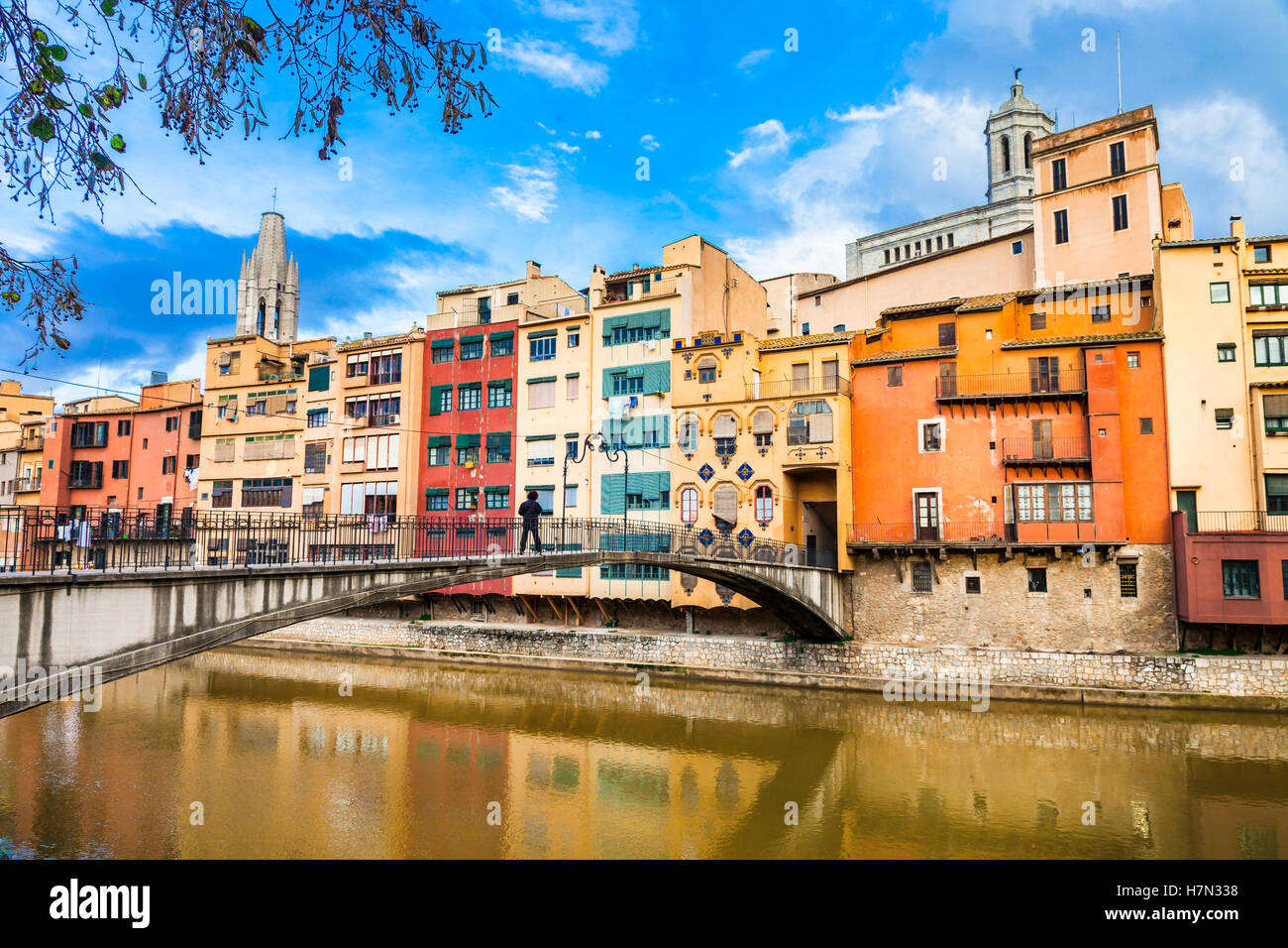 Girona - beautiful colorful town in Catalonia, Spain Stock Photo