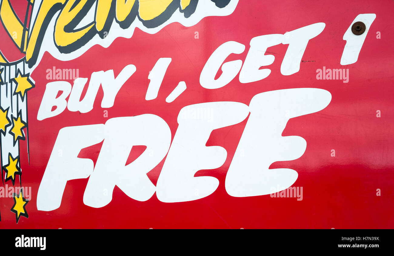 BOGOF' or 'Buy one get one free' sign Discounted Fireworks Stock